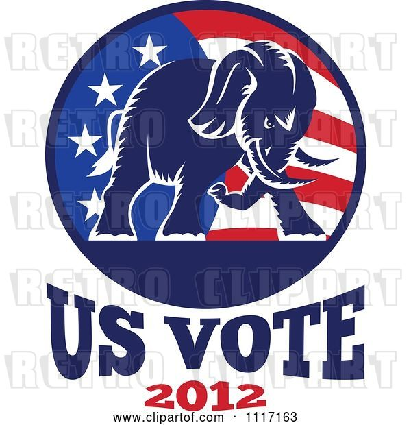 Vector Clip Art of Retro Republican Political Party Elephant and Flag with Us Vote 2012 Text 1