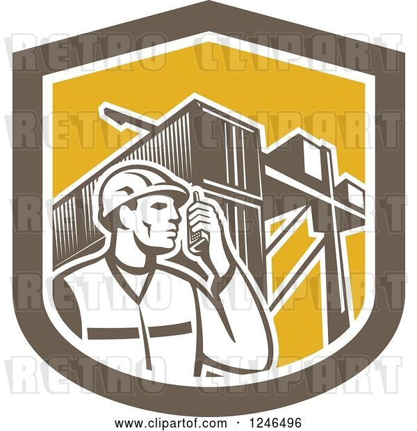 Vector Clip Art of Retro Retor Male Dock Worker with Shipping Containers in a Shield