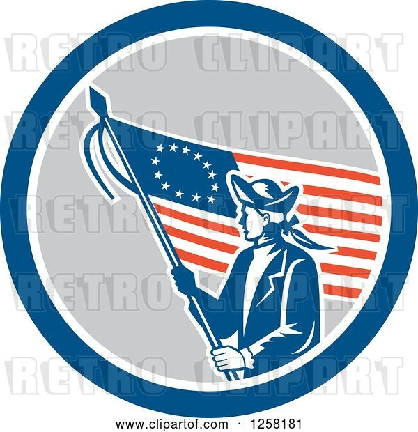 Vector Clip Art of Retro Revolutionary Soldier with an American Betsy Ross Flag in a Blue White and Gray Circle