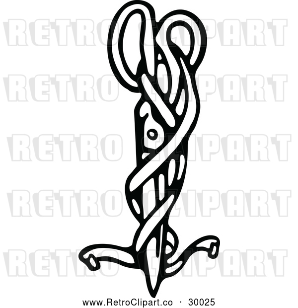 Vector Clip Art of Retro Ribbon and Scissors