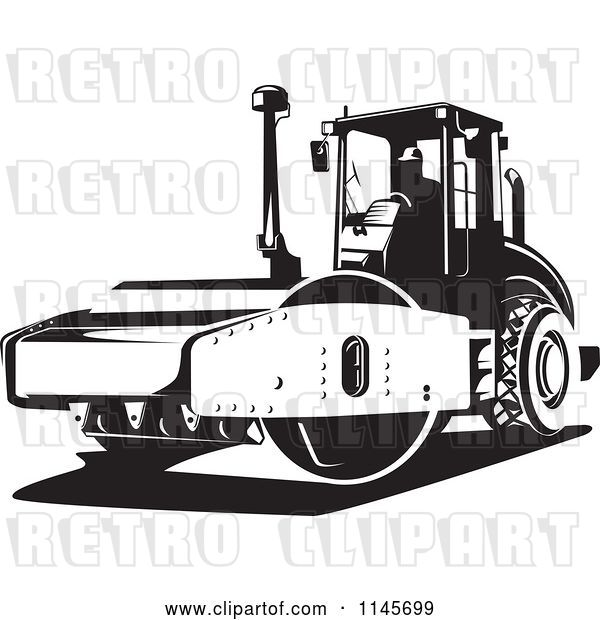 Vector Clip Art of Retro Road Roller Tractor