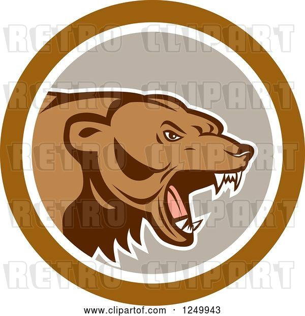Vector Clip Art of Retro Roaring Angry Grizzly Bear in a Gray and Brown Circle