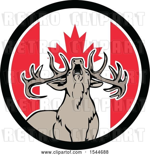 Vector Clip Art of Retro Roaring Deer in a Canadian Flag Circle