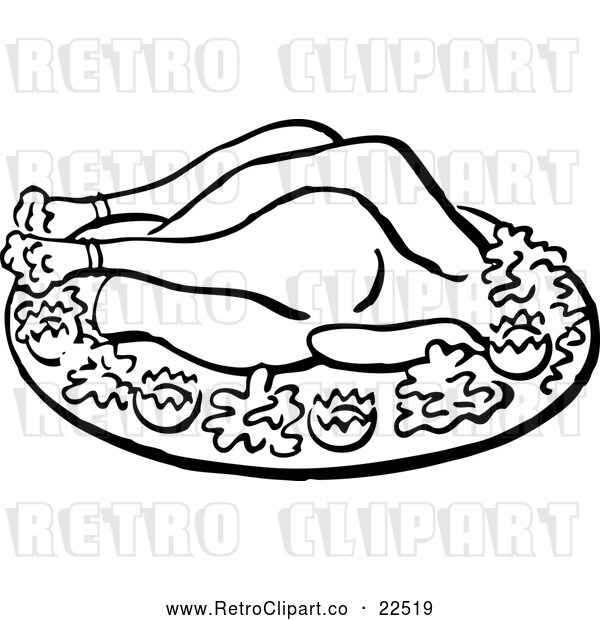 Vector Clip Art of Retro Roasted Chicken