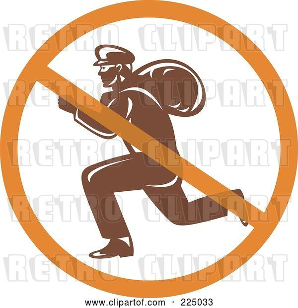 Vector Clip Art of Retro Robber Logo with a Prohibited Symbol