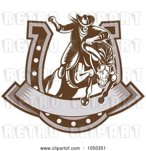 Vector Clip Art of Retro Rodeo Cowboy and Horse Leaping Through a Horseshoe Banner