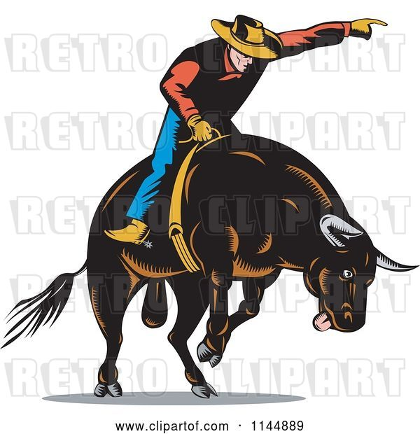 Vector Clip Art of Retro Rodeo Cowboy on a Bucking Bull 3
