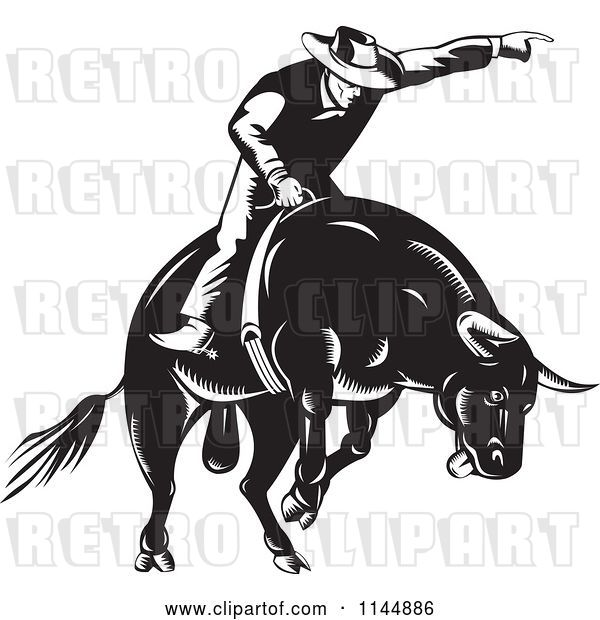 Vector Clip Art of Retro Rodeo Cowboy on a Bucking Bull