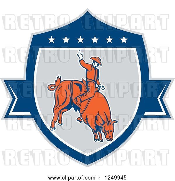 Vector Clip Art of Retro Rodeo Cowboy on a Bucking Bull in a Shield