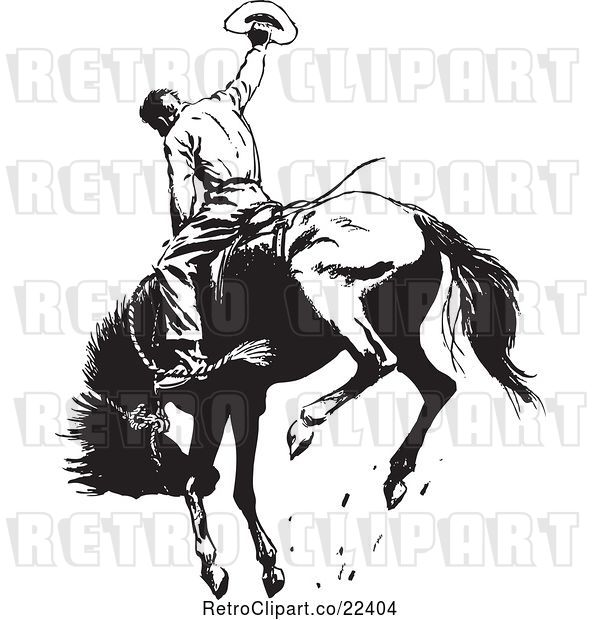 Vector Clip Art of Retro Rodeo Cowboy on a Bucking Horse 1