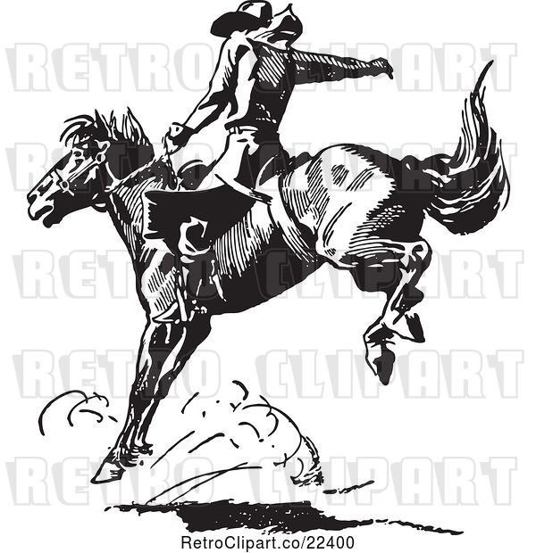 Vector Clip Art of Retro Rodeo Cowboy on a Bucking Horse 4