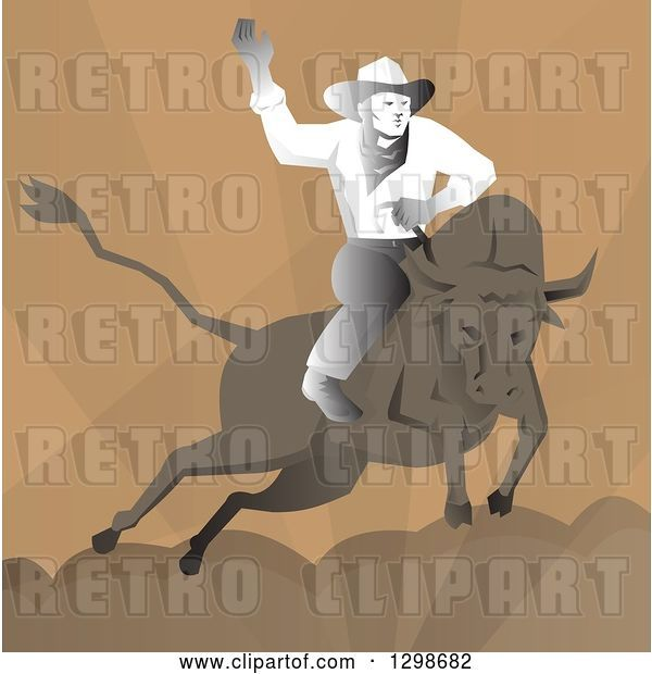 Vector Clip Art of Retro Rodeo Cowboy on Abull over Brown