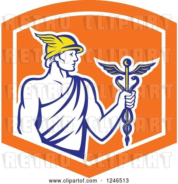 Vector Clip Art of Retro Roman God Mercury with a Caduceus in an Orange Shield