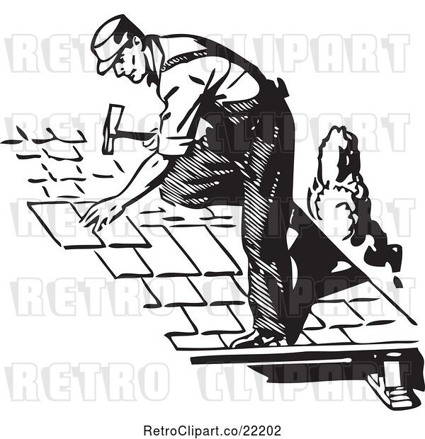 Vector Clip Art of Retro Roofer Installing Shingles