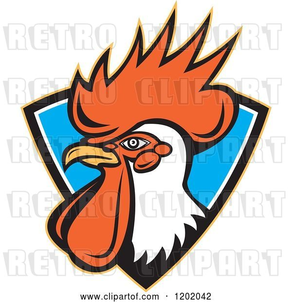 Vector Clip Art of Retro Rooster Head Emerging from a Blue Shield Crest