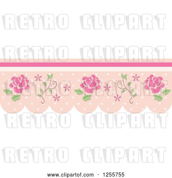 Vector Clip Art of Retro Rose and Dot Border