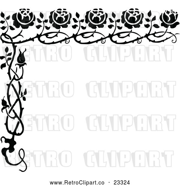 Vector Clip Art of Retro Rose Border