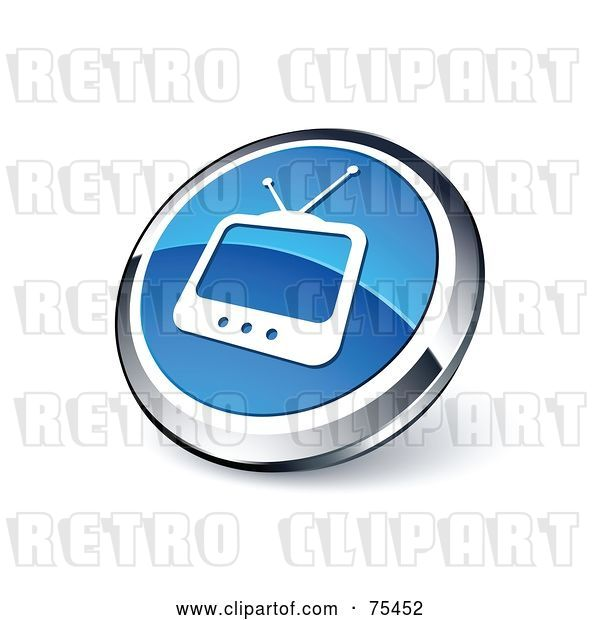 Vector Clip Art of Retro Round Blue and Chrome Box TV Web Site Button