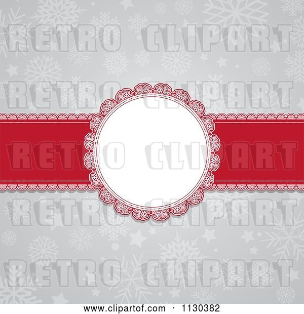 Vector Clip Art of Retro Round Christmas Frame and Red Ribbon over Gray Snowflakes