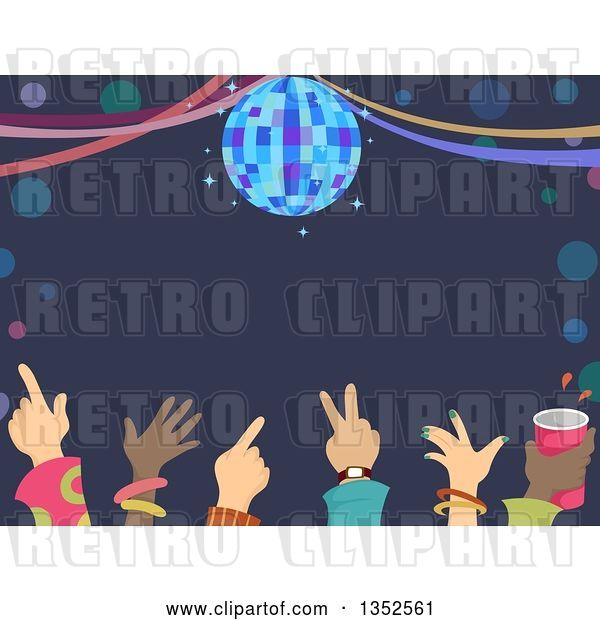 Vector Clip Art of Retro Row of Hands of Dancers Under a Disco Ball and Text Space