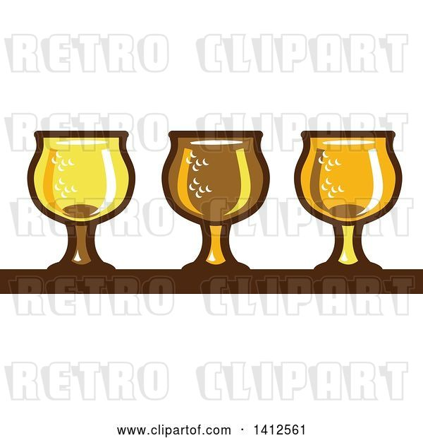 Vector Clip Art of Retro Row of Light, Dark and Ale Beer Glasses