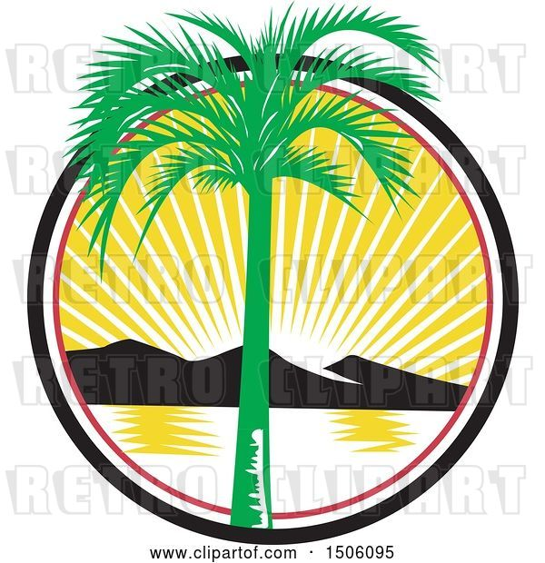 Vector Clip Art of Retro Royal Palm Tree over a Bay with Mountains at Sunset