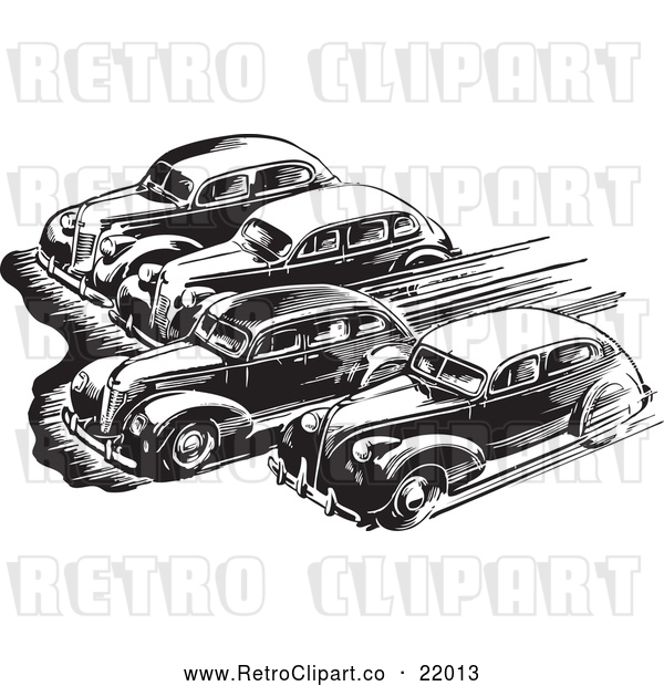 Vector Clip Art of Retro Royalty-Free (RF) Clipart Illustration of Cars Taking off in a Race