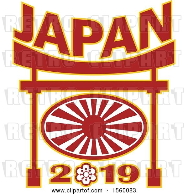 Vector Clip Art of Retro Rugby Ball with a Japanese Flag Rising Sun and Japan 2019 Text in a Pagoda
