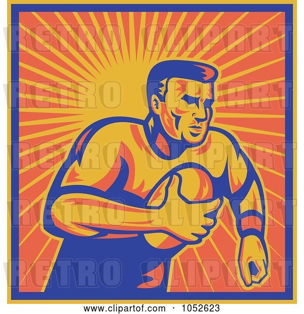 Vector Clip Art of Retro Rugby Football Guy Against Orange Rays