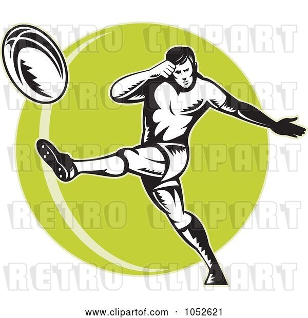 Vector Clip Art of Retro Rugby Football Guy over a Green Circle