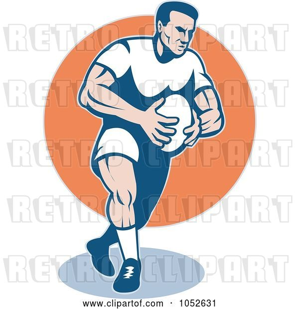 Vector Clip Art of Retro Rugby Football Guy over an Orange Circle