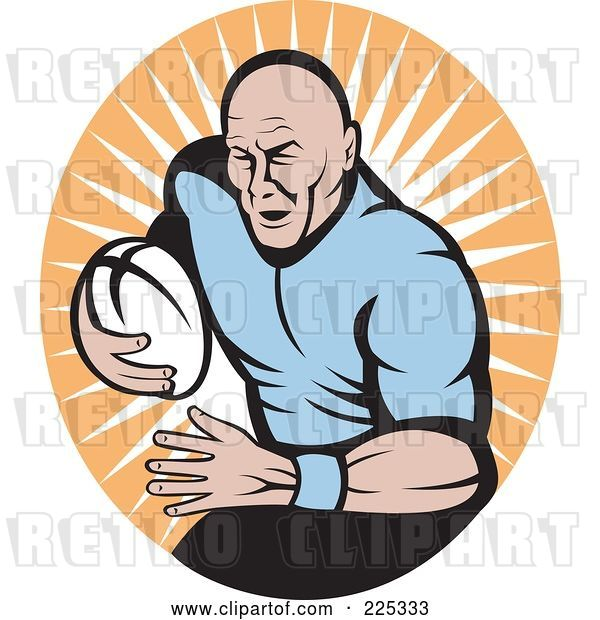 Vector Clip Art of Retro Rugby Football Player Logo - 4