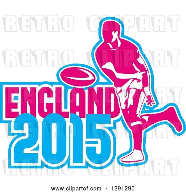 Vector Clip Art of Retro Rugby Union Player Passing a Ball, and White Pink and Blue England 2015 Text