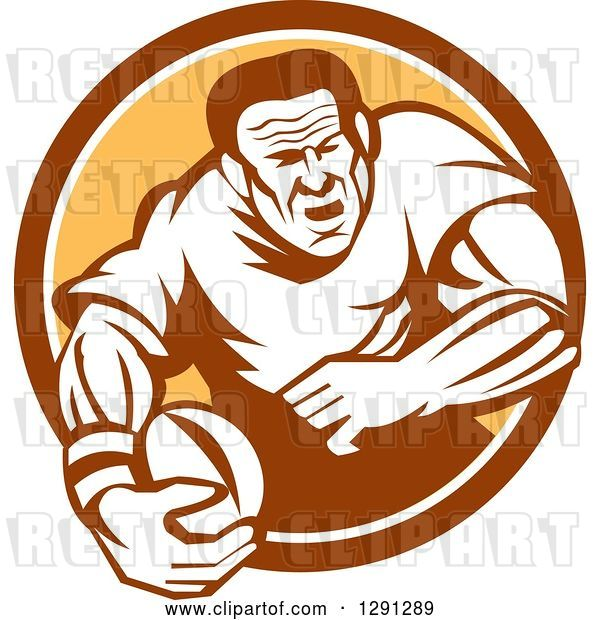 Vector Clip Art of Retro Rugby Union Player Running with a Ball in a Brown White and Orange Circle