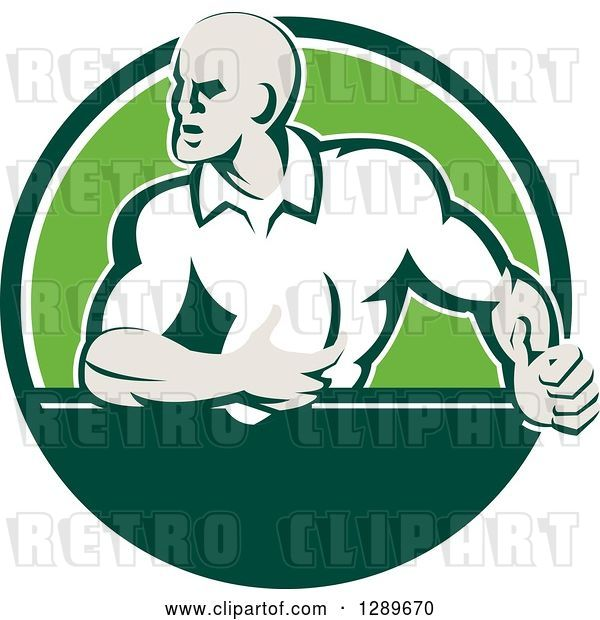 Vector Clip Art of Retro Rugby Union Player with Ball in a Green and White Circle