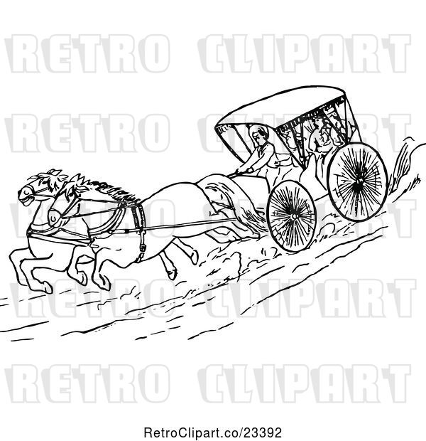 : Vector Clip Art of Retro Running Horses and Carriage