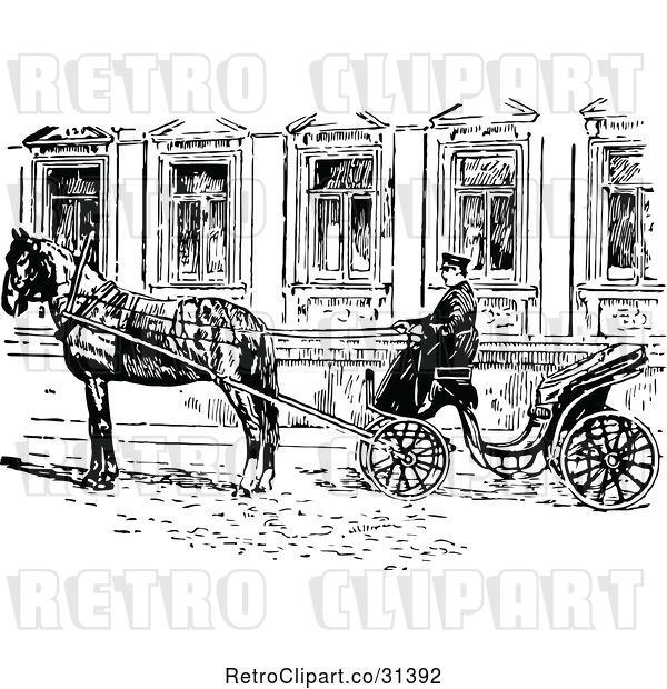 Vector Clip Art of Retro Russian Droshky Carriage