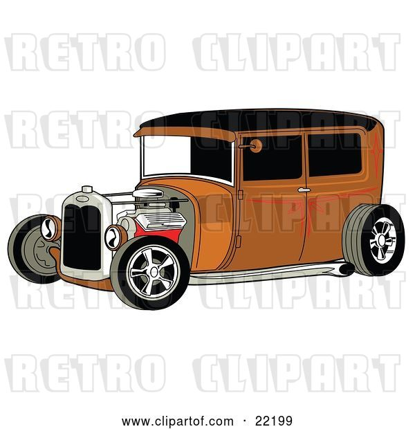 Vector Clip Art of Retro Rust Brown Rat Rod Car with a Black Roof, Red Accents and Chrome Wheels