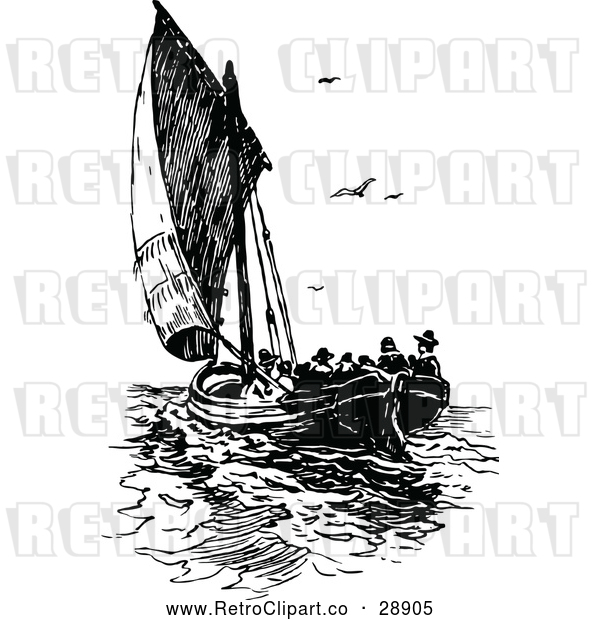Vector Clip Art of Retro Sailboat with Passengers