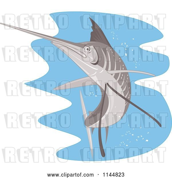 Vector Clip Art of Retro Sailfish 8