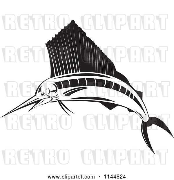 Vector Clip Art of Retro Sailfish