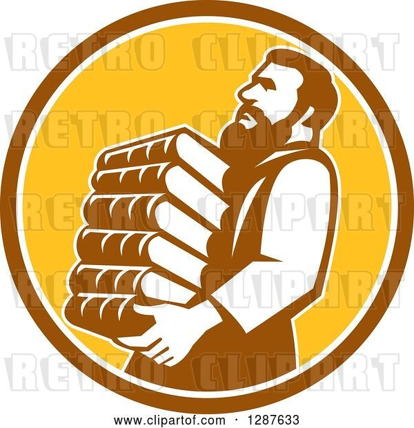 Vector Clip Art of Retro Saint Jerome Carrying a Stack of Books in a Brown White and Yellow Circle