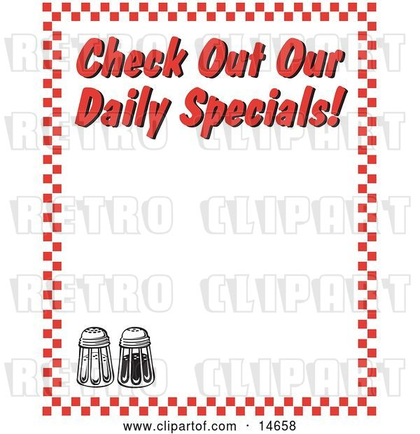 "Vector Clip Art of Retro Salt and Pepper Shakers and Text Reading ""Check out Our Daily Specials!"" Borderd by Red Checkers"