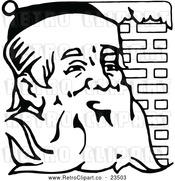 Vector Clip Art of Retro Santa Claus Beside Brick Chimney