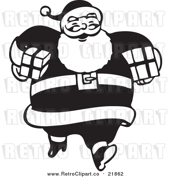 Vector Clip Art of Retro Santa Claus Carrying Gifts - Black and White Version