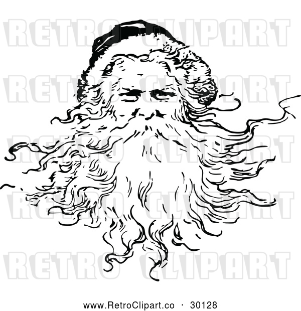 Vector Clip Art of Retro Santa Claus Featuring His Beard