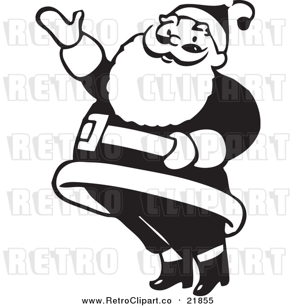 Vector Clip Art of Retro Santa Claus Presenting - Black and White Version