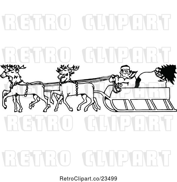 : Vector Clip Art of Retro Santa in His Sleigh