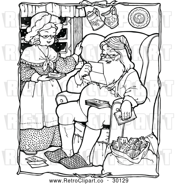 Vector Clip Art of Retro Santa with Mrs. Claus Reading Christmas Letters