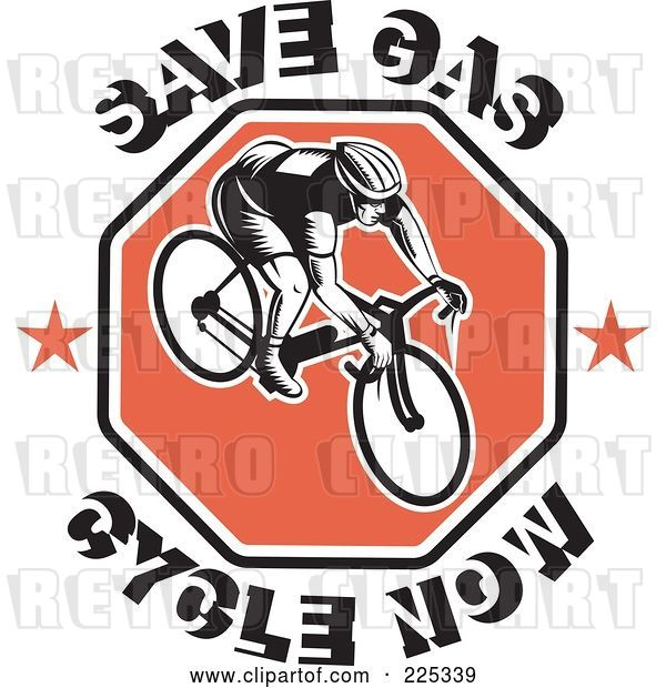 Vector Clip Art of Retro Save Gas Cycle Now Text Around a Bicyclist on a Red Octagon